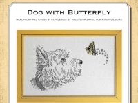 Blackwork and Cross Stitch Design: Dog with Butterfly