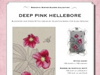 Cross Stitch and Blackwork Design: Deep Pink Hellebore