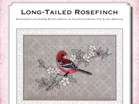 Blackwork and Cross Stitch Design: Long-tailed Rosefinch