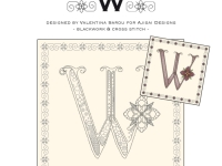 Blackwork & Cross Stitch Designs: Floral Alphabet – W