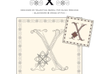Blackwork & Cross Stitch Designs: Floral Alphabet – X