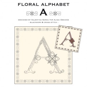 Blackwork & Cross Stitch Designs: Floral Alphabet – A