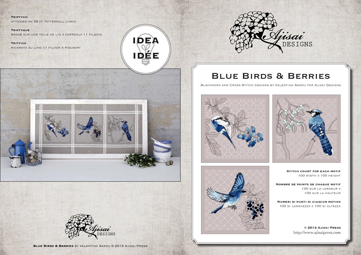 Blue birds and berries -ajisaidesigns