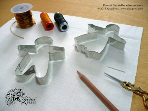 Cookie cutters used as embroidery templates