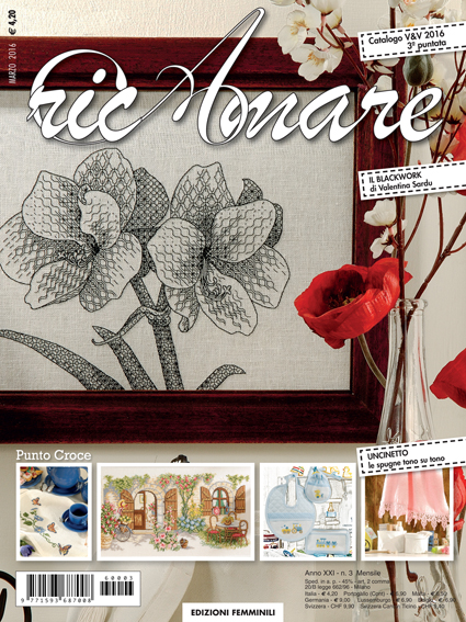RicAmare - March 2016. The chart for the Amaryllis design is currently available exclusively in this month's issue of the magazine