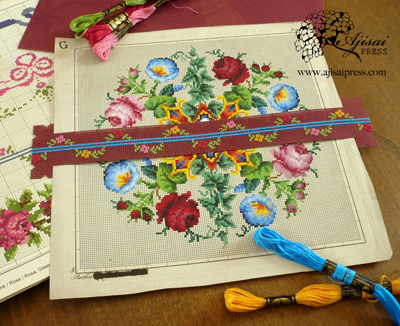 DIY cross-stitched chart marker - Ajisai Press
