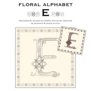 Blackwork & Cross Stitch Designs: Floral Alphabet – E
