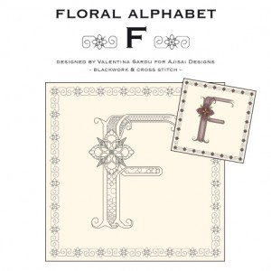 Blackwork & Cross Stitch Designs: Floral Alphabet – F
