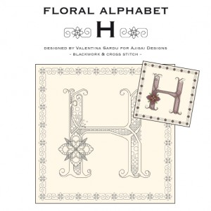 Blackwork & Cross Stitch Designs: Floral Alphabet – H
