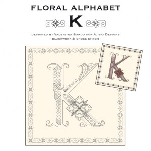 Blackwork & Cross Stitch Designs: Floral Alphabet – K