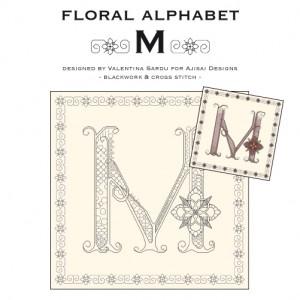 Blackwork & Cross Stitch Designs: Floral Alphabet – M