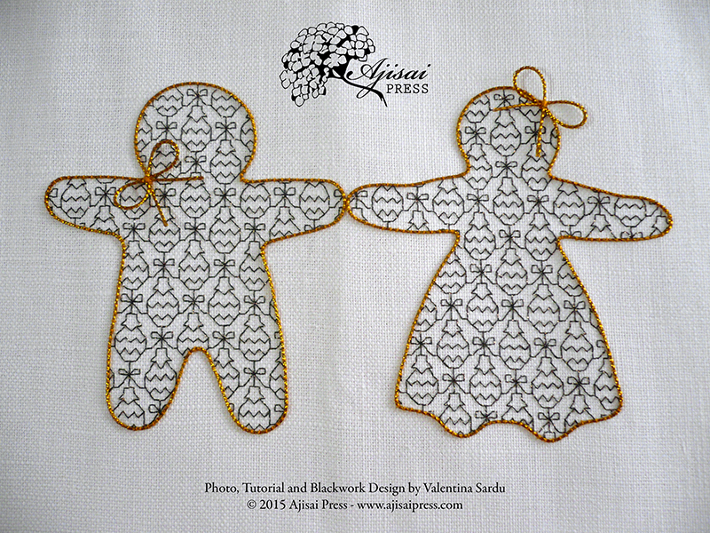 Mr and Mrs Gingerbread - blackwork embroidery