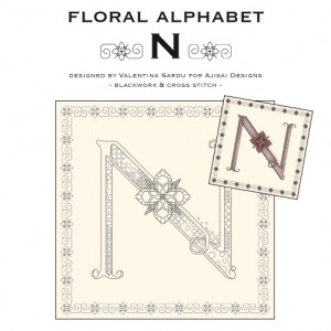 Blackwork & Cross Stitch Designs: Floral Alphabet – N