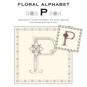 Blackwork & Cross Stitch Designs: Floral Alphabet – P