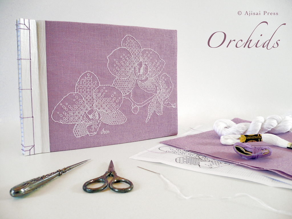 blackwork design - orchids - LILAC1