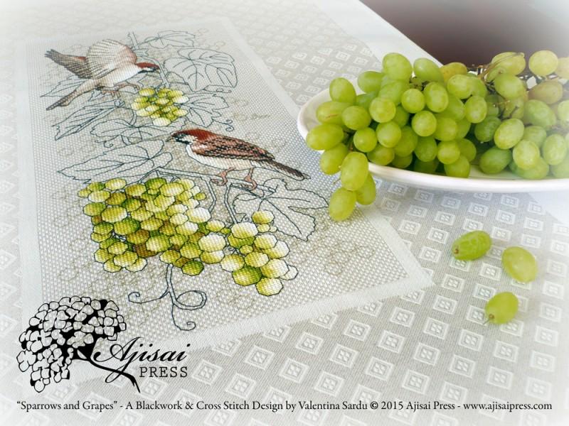 Sparrows and grapes - Ajisai Designs