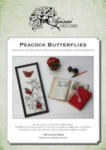 Cross Stitch and Blackwork Design: Peacock Butterflies