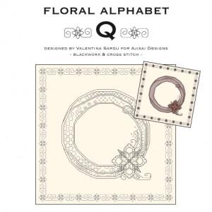 Blackwork & Cross Stitch Designs: Floral Alphabet – Q
