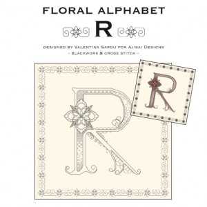 Blackwork & Cross Stitch Designs: Floral Alphabet – R