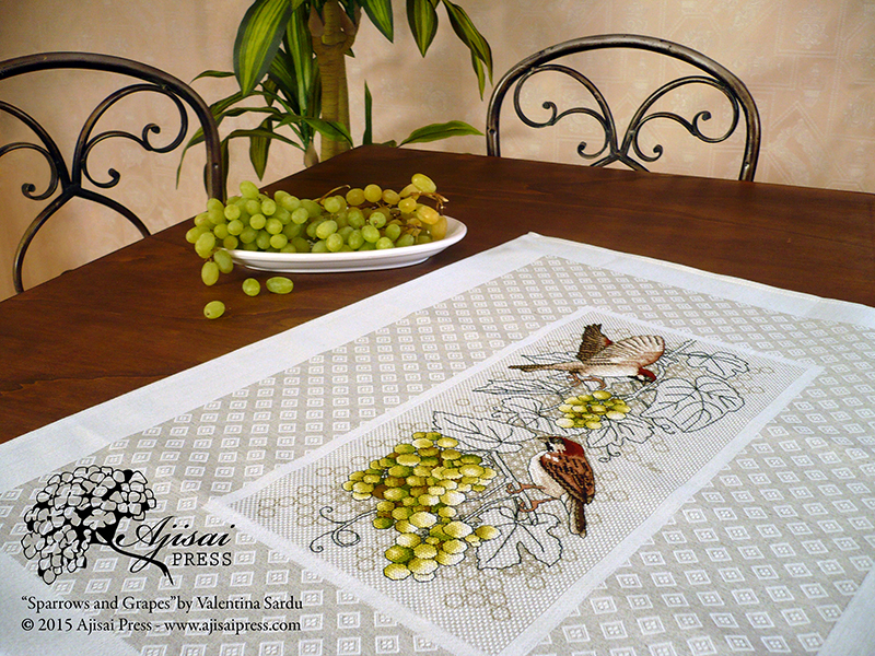 Sparrows and grapes - Ajisai Designs