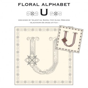 Blackwork & Cross Stitch Designs: Floral Alphabet – U