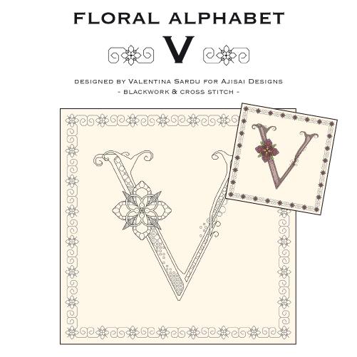 Blackwork Cross Stitch Designs Floral Alphabet V