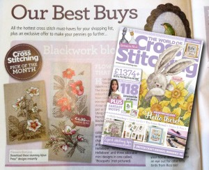 Romantic Winter Blooms collection featured as a Best Buy <br/>in The World of Cross Stitching magazine
