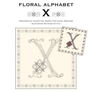 Blackwork & Cross Stitch Designs: Floral Alphabet – X