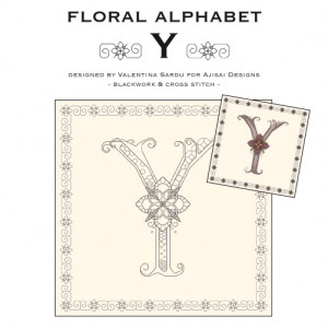 Blackwork & Cross Stitch Designs: Floral Alphabet – Y