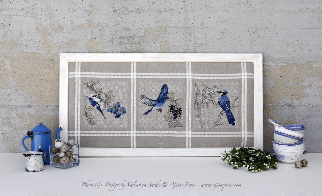 Blue birds and berries triptych