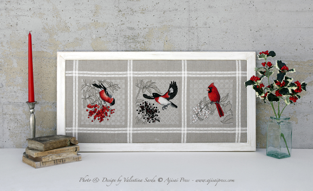 Red birds and berries Triptych
