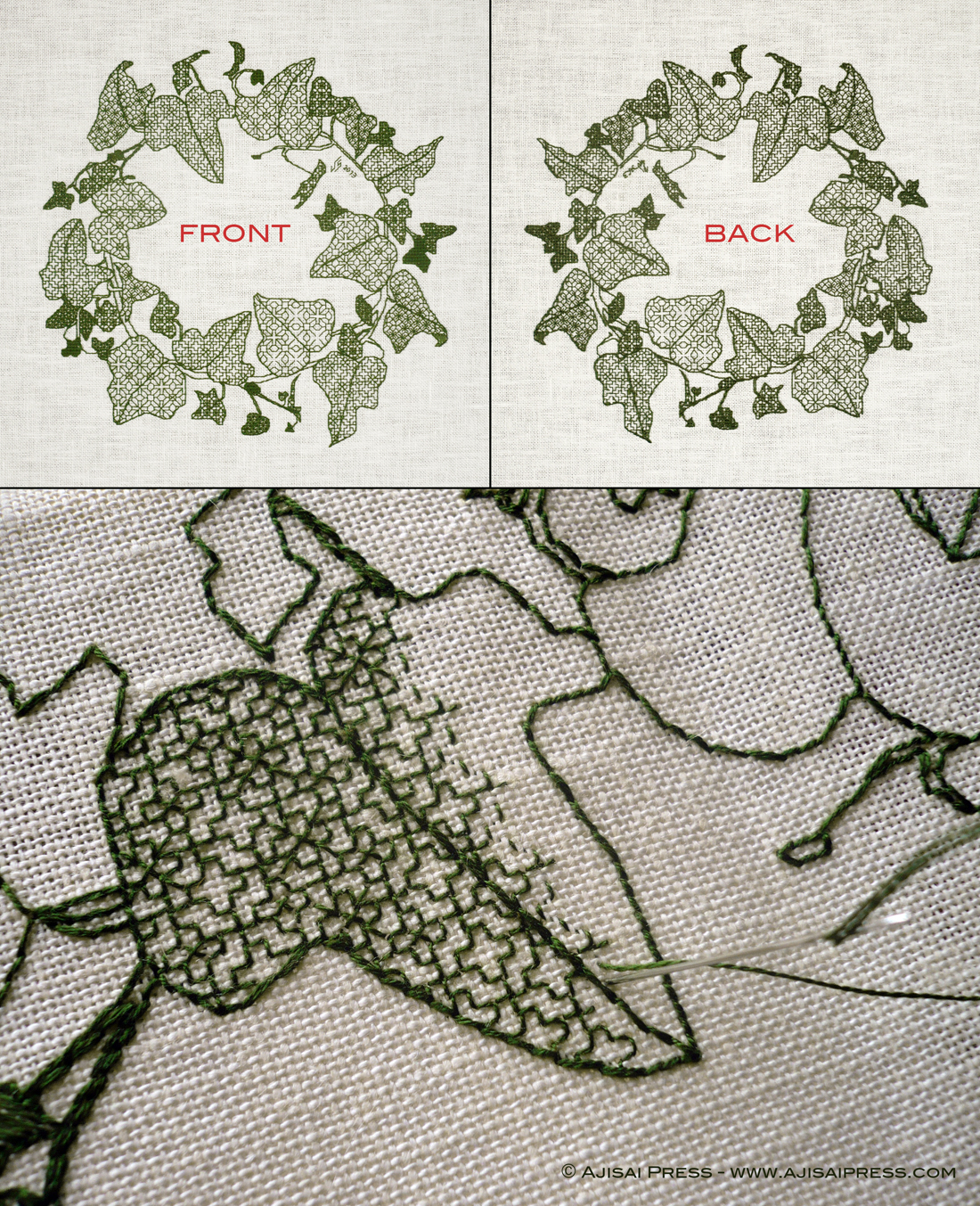 blackwork ivy front and back