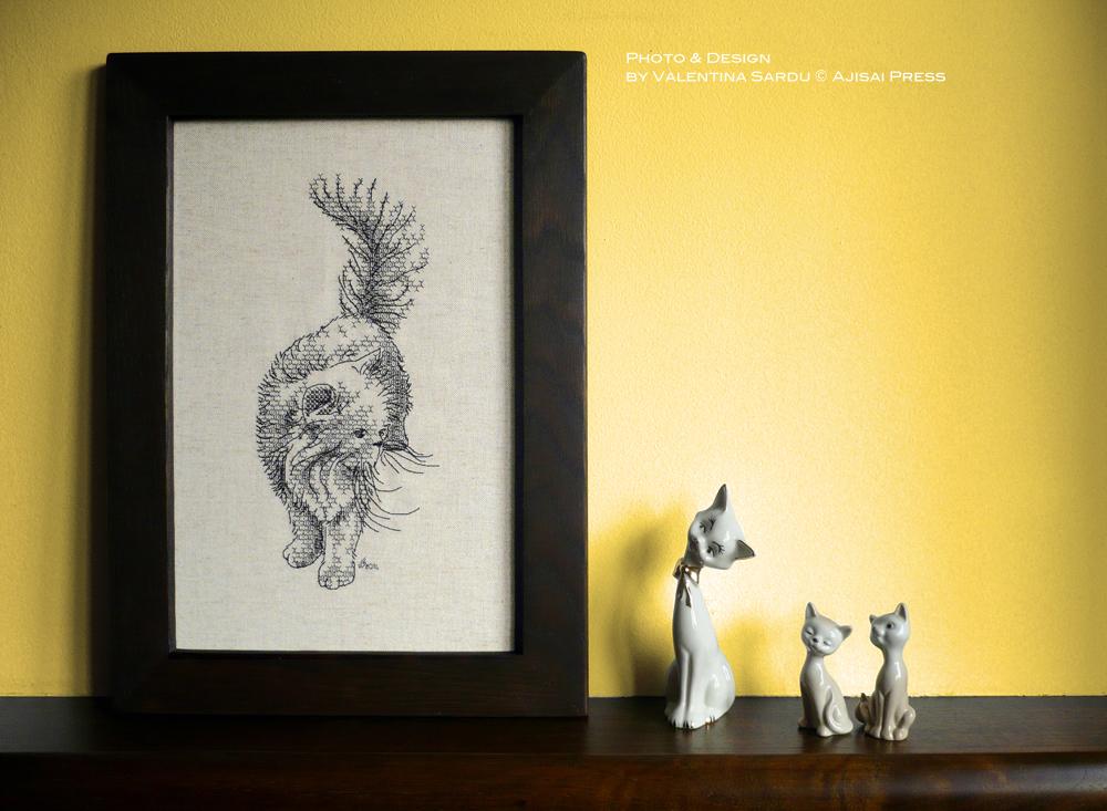blackwork persian cat ajisai press