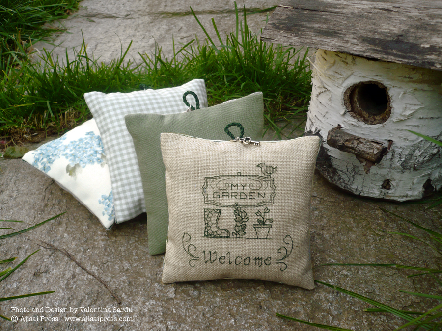 blackwork motif - welcome to my garden - scented cushion