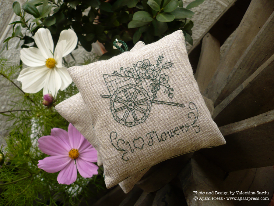 blackwork motif - I love flowers - scented cushion