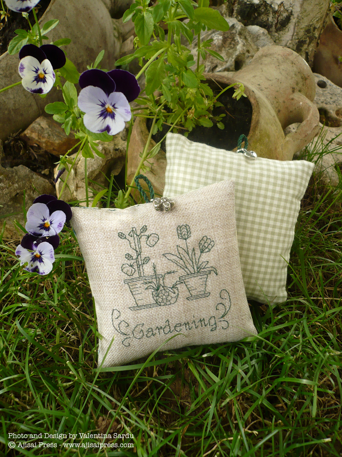 blackwork motif - gardening - scented cushion