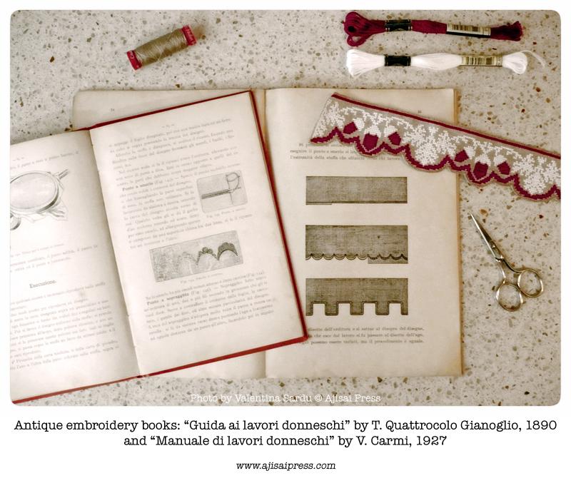 cross stitch border with scalloped edge - antique books