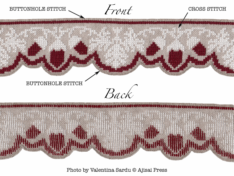 cross stitch border with scalloped edge - front and back