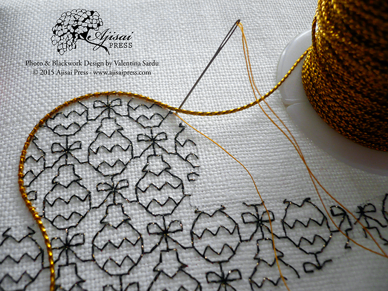 couching gold cord - blackwork embroidery