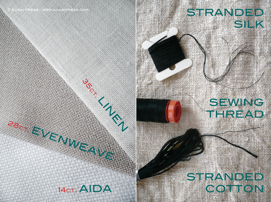 blackwork fabrics and threads
