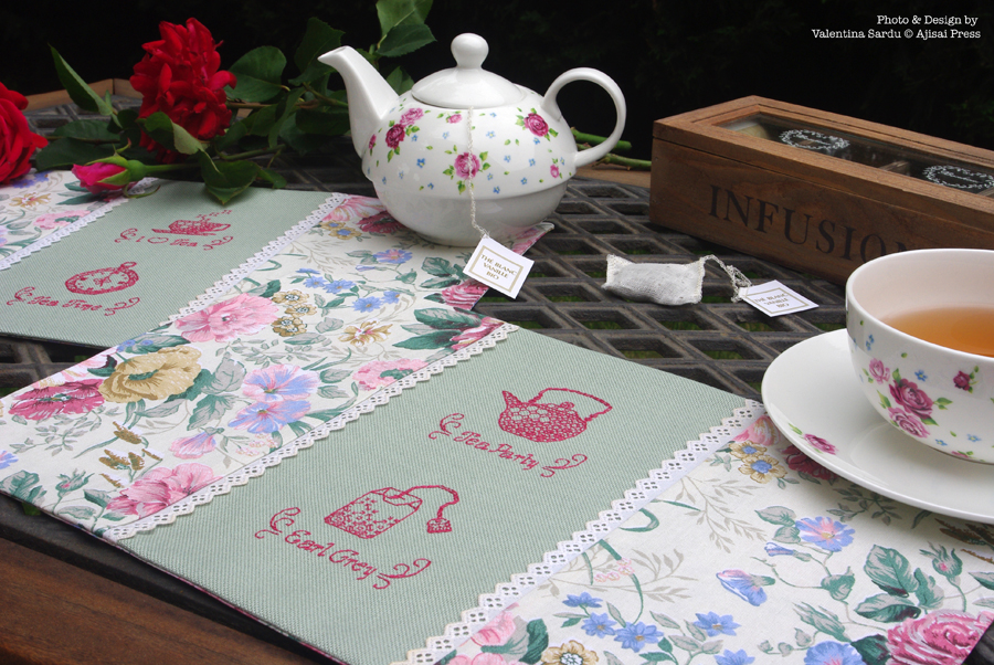 tea placemats - blackwork motifs - 1
