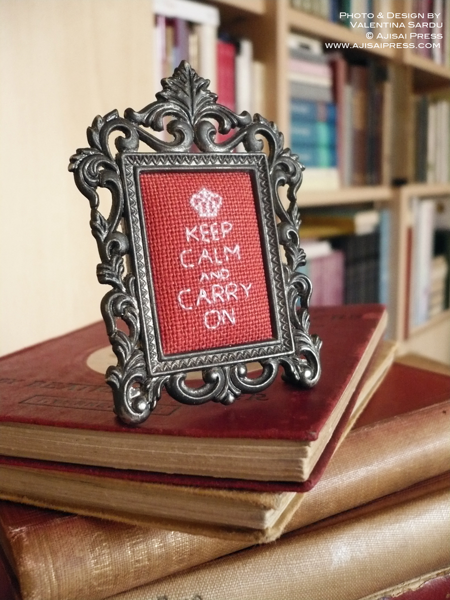 keep calm cross stitch miniature