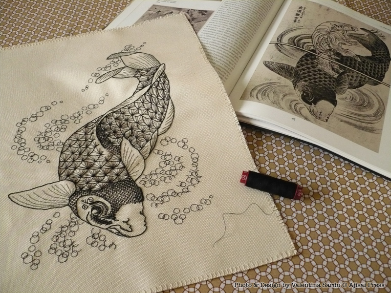 koi fish - blackwork chart by Ajisai - photo1