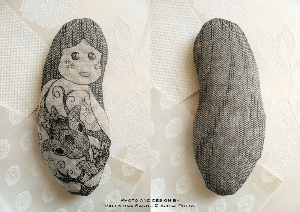 Melanie - blackwork doll - ajisai designs FRONT&BACK