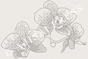 blackwork design - orchids IVORY