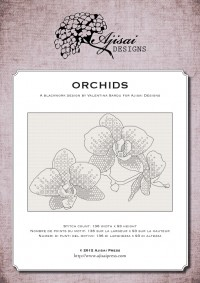 blackwork pattern - orchids - ajisai designs