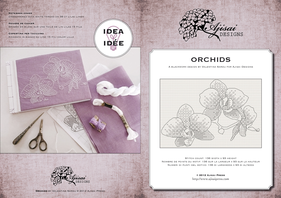 blackwork orchids by ajisai designs
