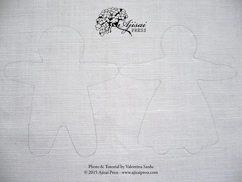 pencil outlines of a blackwork embroidery